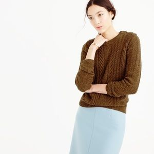 J. Crew Perfect Cable Sweater in Speckled Wool L
